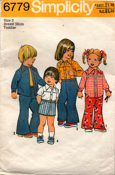 Simplicity 6779 Toddlers Flared Jeans Shorts & Western Shirt Vintage Sewing Pattern Size 3