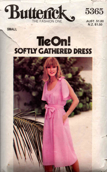 Butterick 5365 Womens Softly Gathered Dress 70s Vintage Sewing Pattern Size Small 8 - 10