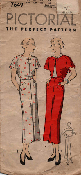 Pictorial Review 7649 1930s dress