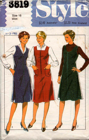 9c957479ac6 Style 3519 Womens Zip Front Jumper Dress Vintage Sewing Pattern Size 16  Bust 38 inches