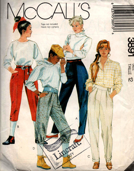 super specials 100% authentic reasonable price McCall's 3891 Womens High Waisted Pants Jodhpurs & Knickers 80s Vintage  Sewing Pattern Size 12 UNCUT Factory Folded