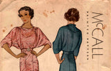 McCall 8716 RARE 1930s Womens Batwing Sleeve Dress Elegant Details Vintage Sewing Pattern Bust 32 inches