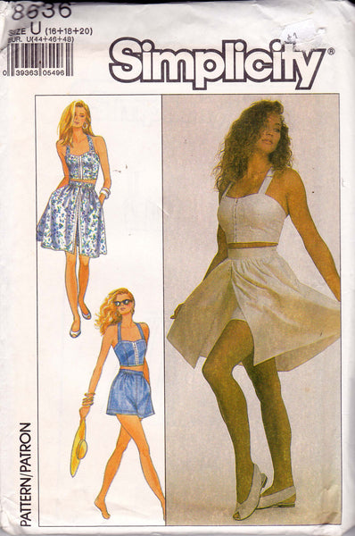 Simplicity 8636 Womens Bustier Top Shorts & Skirt 80s Vintage Sewing Pattern Size 16 18 20 UNCUT Factory Folds