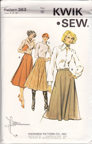 d712f9aba0c29 Kwik Sew 363 Womens Flared Gored Skirts 70s Vintage Sewing Pattern Size 6 8  10 UNCUT Factory Folds
