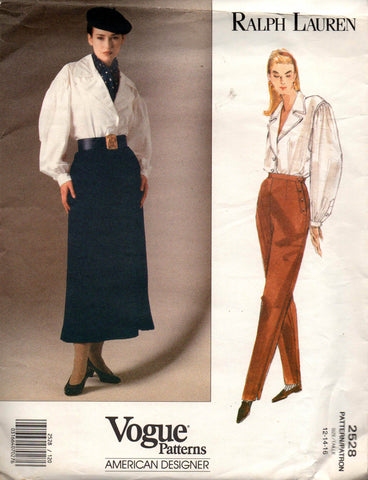 Vogue 2528 Ralph Lauren 90s blouse pants skirt