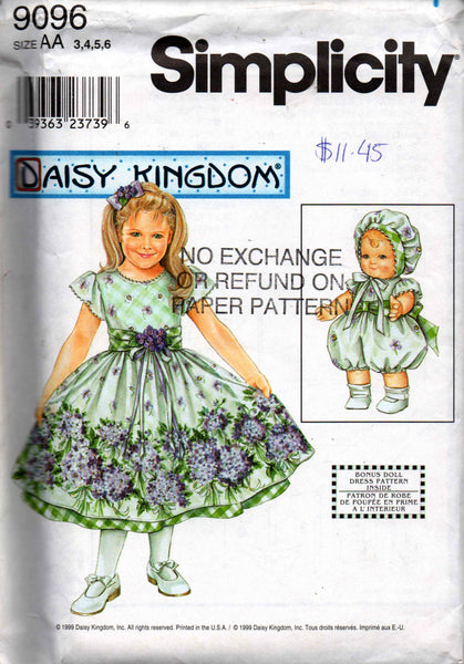 Simplicity 9096 daisy kingdom dress & dolls clothes