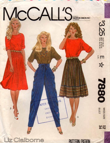 McCall's 7880 80s top skirt pants
