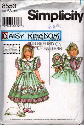 Simplicity 8553 Daisy Kingdom Girls Full Skirt Party Dress Frilled Pinafore & Bonus 13 Inch Doll Clothes OOP Sewing Pattern Size 2 3 4 UNCUT Factory Folded