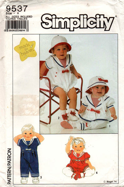 9c526105ae5 Simplicity 9537 Baby Toddlers Sailor Suit Rompers   Hat 80s Vintage Se