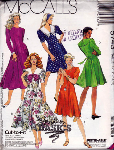 90s Fit and Flare Princess Dress Pattern McCall's 5743 Vintage Sewing Pattern Size 12 14 16 UNCUT Factory Folds