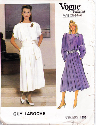 Vogue Paris Original 1553 GUY LAROCHE Womens Pleated Drop Waist Dress 1980s Vintage Sewing Pattern Size 14 Bust 36 inches