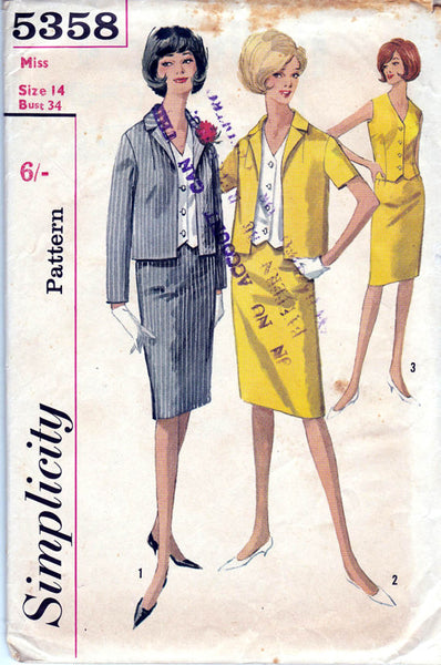 Simplicity 5358 Womens Skirt Weskit Blouse Jacket 60s Vintage Sewing Pattern Size 14 Bust 34 inches