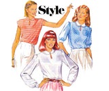 Style 3036 Womens Romantic Blouses 1980s Vintage Sewing Pattern Size 10
