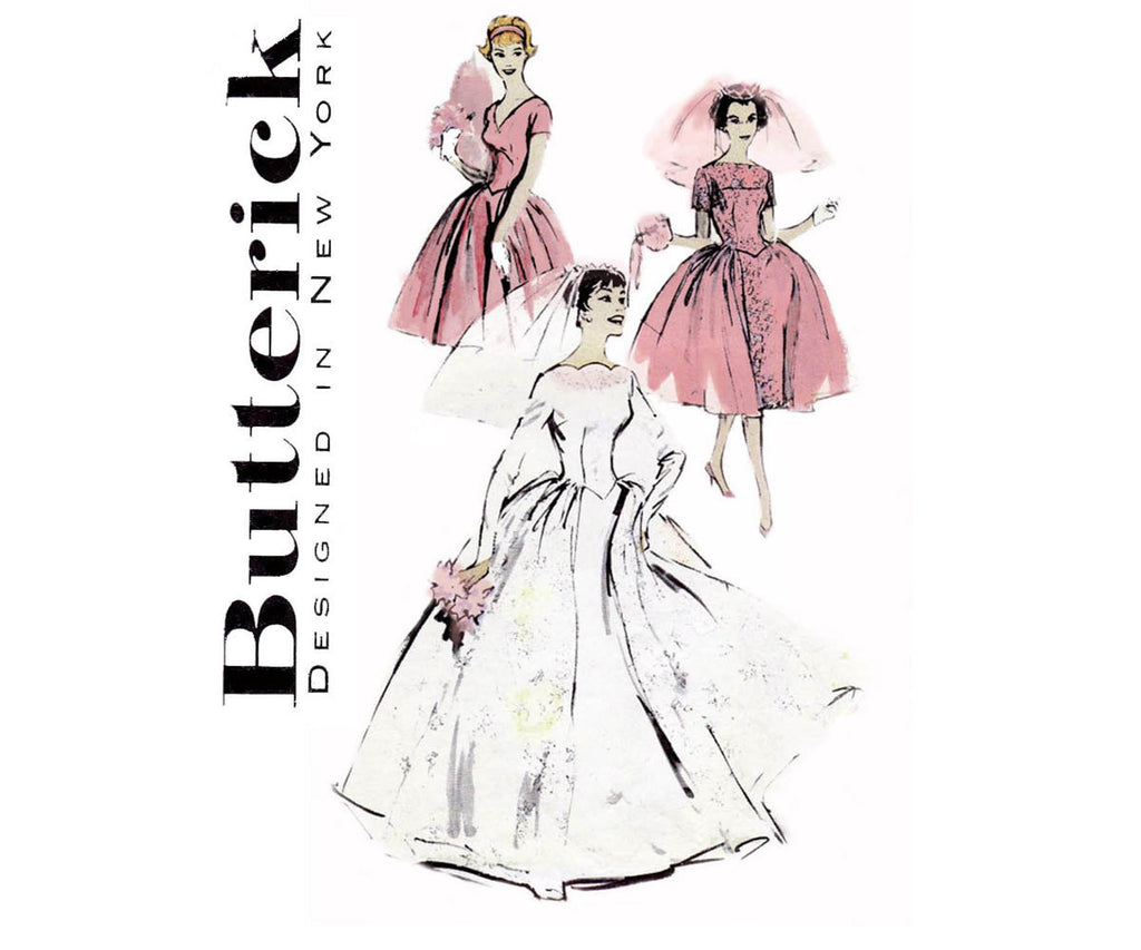Butterick 8704 Womens or Bridesmaids Dress Bridal Gown 50s Vintage ...