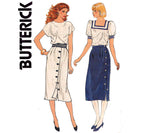 Butterick 4863 Womens Side or Front Buttoned Skirts 80s Vintage Sewing Pattern Size 8 10 12 UNCUT Factory Folds