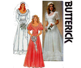 Butterick 4765 Womens Wedding Dress with Full Skirt Neck Frills Puffy Sleeves Ruffles 80s Vintage Sewing Pattern Size 12 Bust 34 inches UNCUT Factory Folded