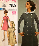 Simplicity 7805 Womens Designer Coatdress 1960s Vintage Sewing Pattern Size 12 Bust 34 Inches