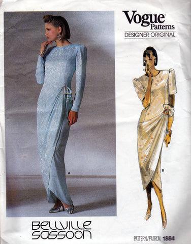 Vogue Designer Original 1884 BELLVILLE SASSOON Womens Side Draped Prom Evening Dress 1980s Vintage Sewing Pattern Size 10
