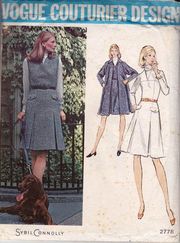 Vogue Couturier Design 2778 SYBIL CONNOLLY Womens Swing Coat & Sleeveless Dress 1970s Vintage Sewing Pattern Size 18 UNCUT Factory Folded