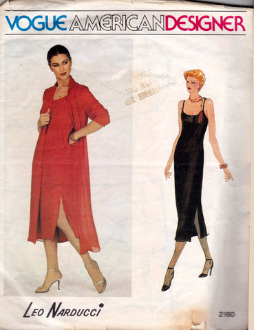 Vogue American Designer 2160 LEO NARDUCCI Womens Evening Dress & Jacket 1970s Vintage Sewing Pattern Size 12 Bust 34 inches