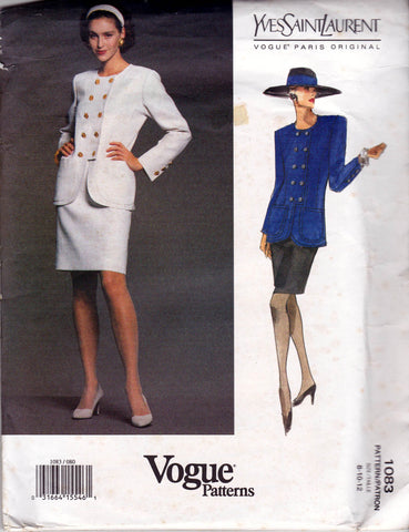 Vogue Paris Original 1083 YVES SAINT LAURENT Womens Double Breasted Hip Length Jacket & Skirt 1990s Vintage Sewing Pattern Sizes 8 - 12 Uncut Factory Folds