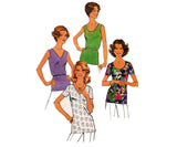 Simplicity 6975 Womens Easy Summer Tops 70s Vintage Sewing Pattern Size 18 and 20 UNCUT Factory Folds