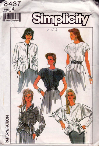 80s Blouse Pattern Simplicity 8437 Bat Wing Shirt Button Front Blouses Sewing Pattern Size 14 Bust 36 UNCUT Factory Folded