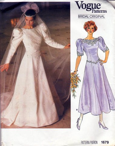 Vogue 1679 80s wedding dress