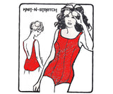 Knit N Stretch 485A Womens Low Back Princess seam bathing suit 70s Vintage Sewing Pattern Sizes 10 - 18 UNCUT Factory Folds