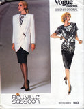 Vogue Designer Original 1833 BELLVILLE SASSOON Womens Skirt Top & Tulip Shaped Jacket 80s Vintage Sewing Pattern Size 12 or 14 Bust 34 or 36 inches
