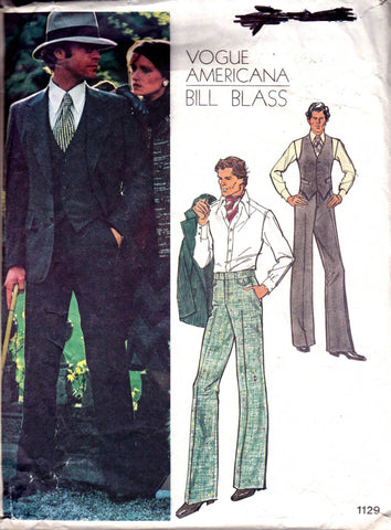 vogue 1129 mens 70s bill blass suit