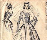 McCall's 4358 Womens Wedding Dress Grace Kelly Style Bridal Gown with Train 50s Vintage Sewing Pattern Size 14 Bust 34 inches