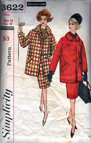 simplicity 3622 60s skirt and coat
