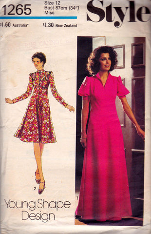Style 1265 Womens Boho Kawaii Fit & Flare Dress or Maxi 1970s Vintage Sewing Pattern Size 12 Bust 34 inches