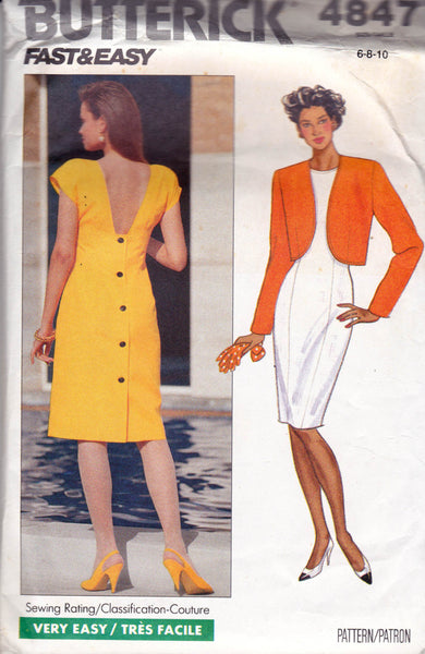 butterick 4847 90s dress and jacket