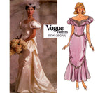 Vogue Bridal Original 1828 Womens Bridal Gown with Train or Ankle Length Flounce Draping Puff Sleeves 80s Vintage Sewing Pattern Size 12 Bust 34 inches
