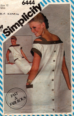 simplicity 6444 back buttoned 80s dress