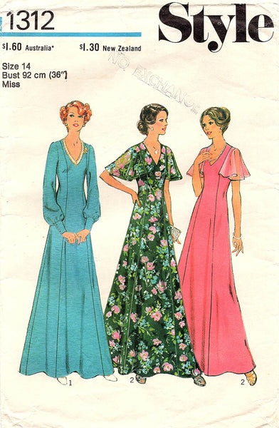 Style 1312 Womens Flutter or Full Sleeved Maxi Dress 1970s Vintage Sewing Pattern Size 14