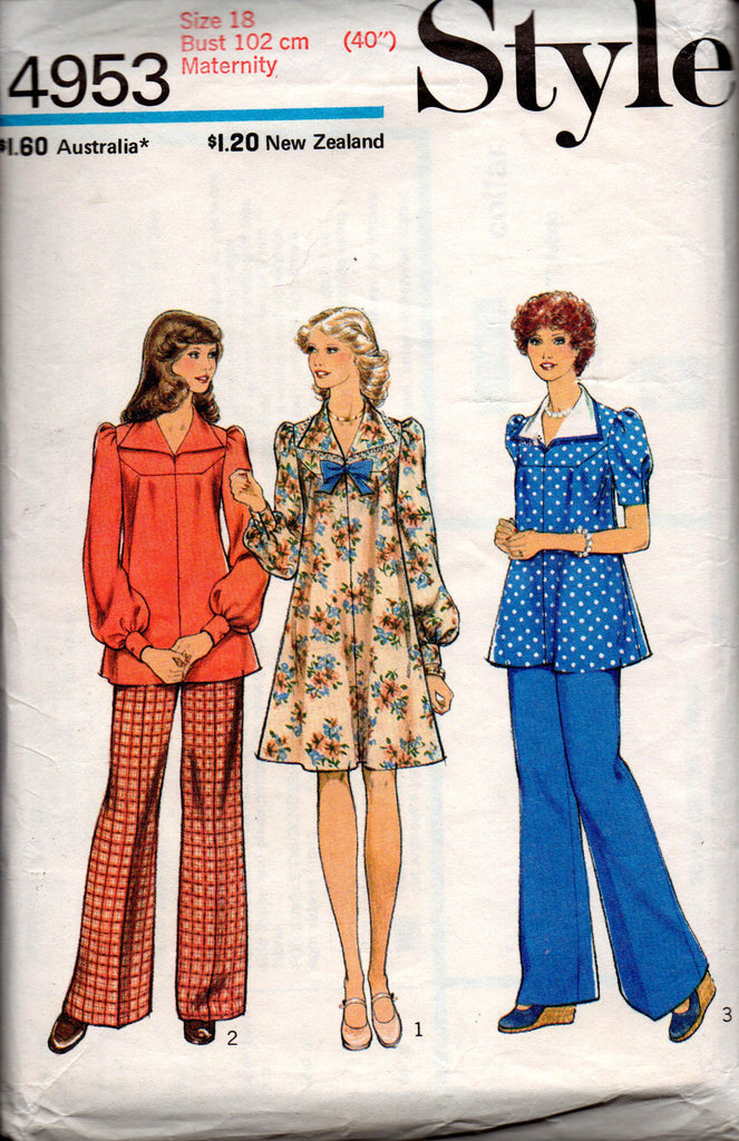 2b1179d565acb Style 4953; Style 4953 Womens Maternity Dress Smock Top & Pants 70s Vintage  Sewing Pattern ...