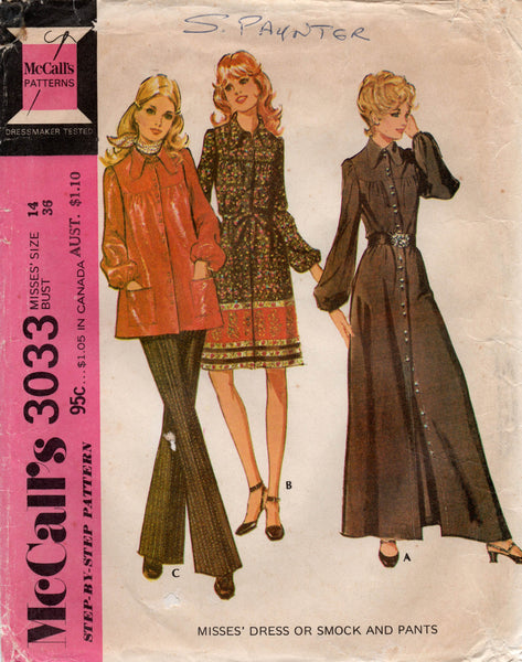 McCall's 3033 70s dress top and pants