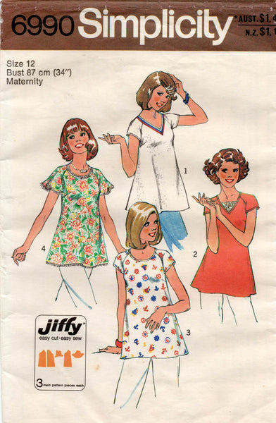 simplicity 6990 70s maternity tops