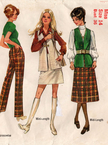 7efc72f754cb3 Simplicity 8955 Womens Skirts Long Vest & Pants 70s Vintage Sewing Pattern  Size 14 Bust 36 inches