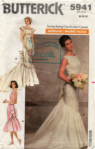butterick 5941 80s wedding dress