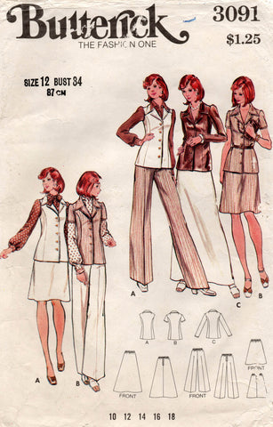 butterick 3091 70s separates