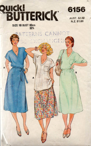 Butterick 6156 Womens Pullover Top & Skirt 80s Vintage Sewing Pattern Size 10 Bust 32 1/2 inches