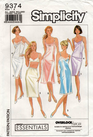0caef4166 Simplicity 9374 Womens Lingerie Full Half Slips   Camisole 80s Vintage  Sewing Pattern Sizes P S M L