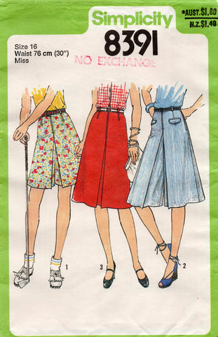 simplicity 8391 70s culottes and skirt