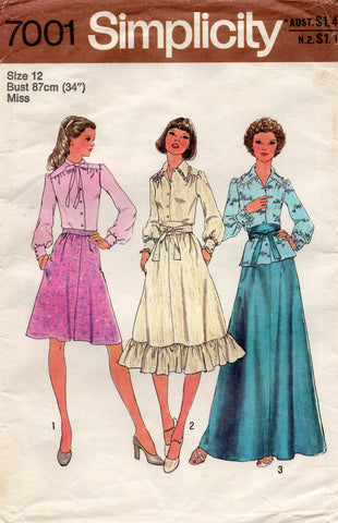 simplicity 7001 70s skirts and blouse