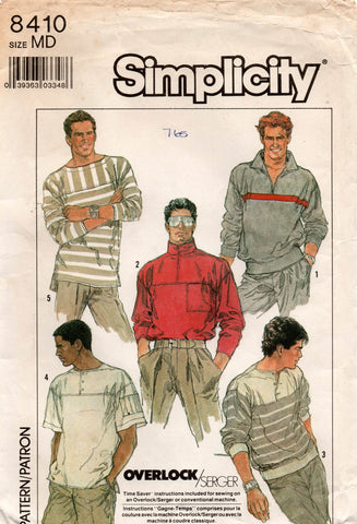simplicity 8410 80s mens pullover tops