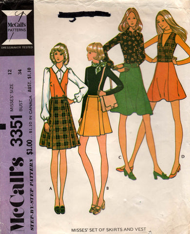 McCall's 3351 70s skirts and vest
